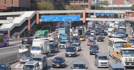Hung Hom, Hong Kong, 16 January 2018:- Cross harbour tunnel fee toll gate in Hong Kong