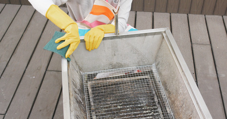 Cleaning of barbecue oven Imagens - 96089410