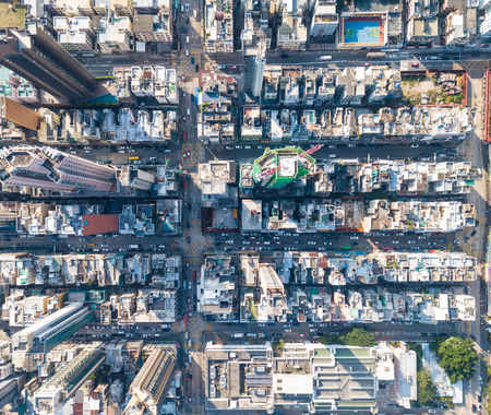 Top view of compact city in Hong Kong 스톡 콘텐츠