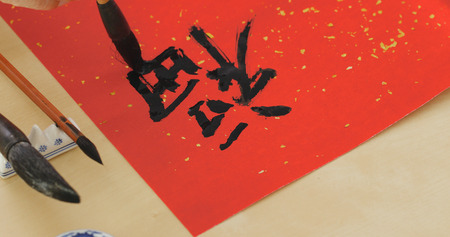 Writing chinese calligraphy for lunar new year, word meaning luck