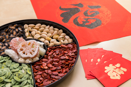 Chinese new year snack tray with red packet and couplet word mean luck Foto de archivo