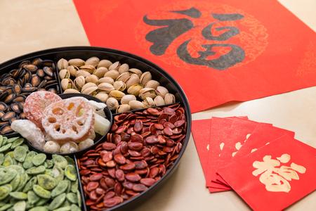 Chinesisches Neujahrs-Snack-Tablett mit rotem Paket und Couplet-Wort bedeutet Glück