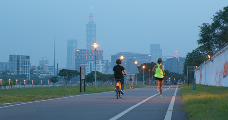 Taipei city, Taiwan, 27 May 2018:- Taipei city river side in the evening