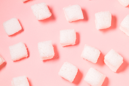 White Marshmallow on the pink background Stock Photo
