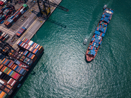 Top view over Kwai Tsing Container Terminals in Hong Kong city Imagens