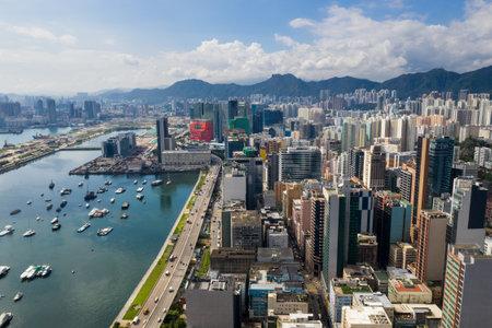 Kowloon Bay, Hong Kong 03 September 2018:- Drone fly over Hong Kong downtown