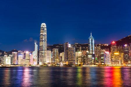 Victoria harbor, Hong Kon, 22 June 2016:- Hong Kong skyline at night