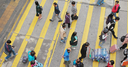 Central, Hong Kong, 28 February 2018:- People crossing the road Editorial