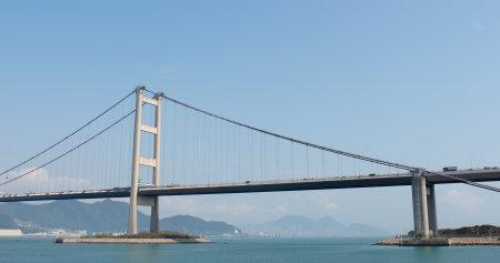 Ma wan, Hong Kong, 02 April 2018:-Tsing ma bridge with blue sky