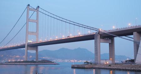 Ma Wan, Hong Kong, 03 April 2018:- Tsing Ma bridge in Hong Kong at night