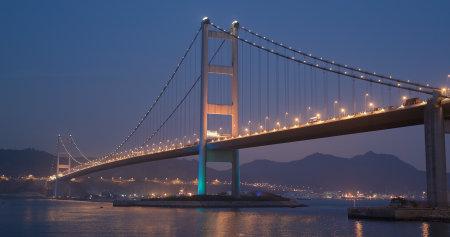 Ma wan, Hong Kong, 02 April 2018:-Tsing ma bridge at night Editorial