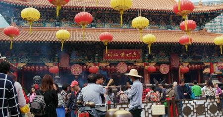 Wong Tai Sin, Hong Kong, 01 de marzo de 2018: - Templo de Wong Tai Sin Editorial