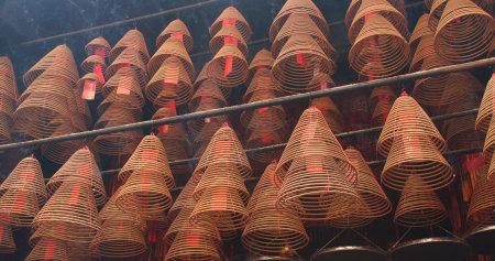 Tai Po, Hong Kong, 12 April 2018:- Hong Kong Man mo Temple with incense ring burning