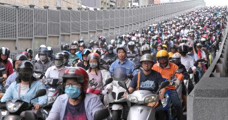 Dihua Street, Taipei city, 27 mei 2018: - druk van motor in de stad Taipei