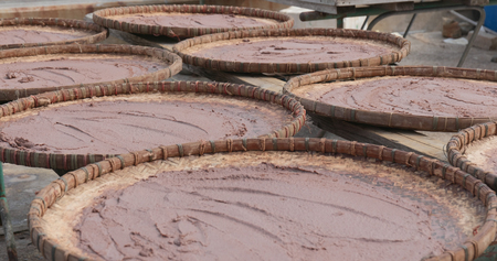 Shrimp paste being dried under the sun in Tai O of Hong Kong Banco de Imagens