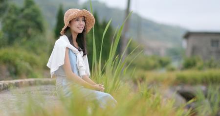 Woman sit down enjoy the natural view