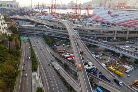 Kwai Tsing, Hong Kong, 14 February 2019:- Container Terminals in Hong Kong 에디토리얼