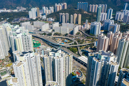 Kai Tak, Hong Kong : 29 January 2019- Top view of Hong Kong city residential district