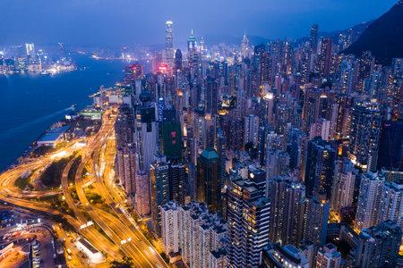 Sheung Wan, Hong Kong, 02 October 2018:- Hong Kong city at night Editorial