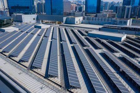 Kowloon bay, Hong Kong 29 January 2019: Solar power panel in the city