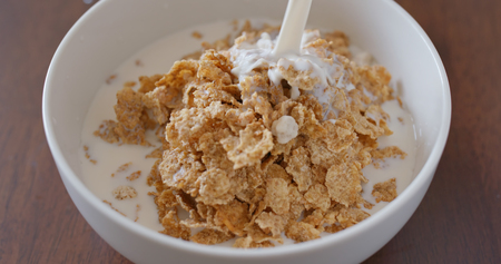 Eat with cereal breakfast