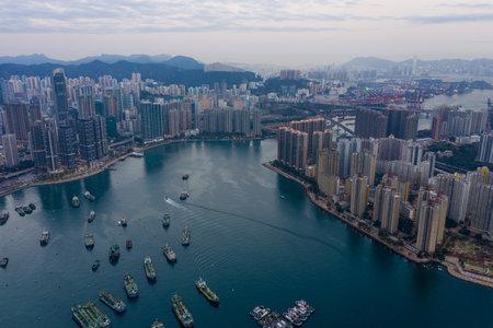Tsing yi and Tsuen wan, Hong Kong, 12 February 2019: Hong Kong city from top Editorial