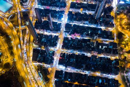 Kowloon city, Hong Kong, 16 February 2019: Hong Kong city at night
