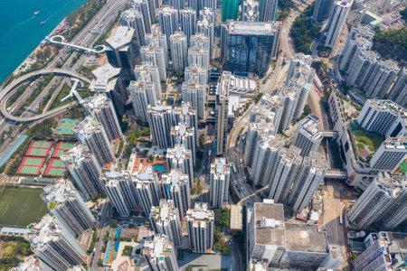 Tai Koo, Hong Kong 19 March 2019: Hong Kong city from top Editorial