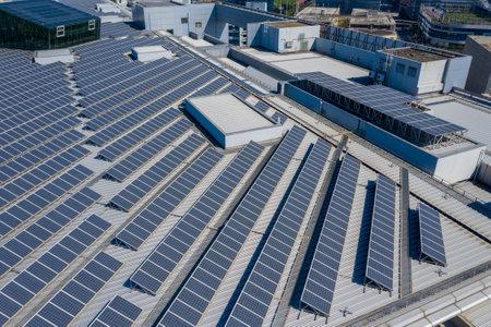 Kowloon bay, Hong Kong 29 January 2019: Roof top with solar power panel