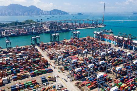 Kwai Tsing, Hong Kong 04 September 2018:- Containers at Hong Kong commercial port Editorial
