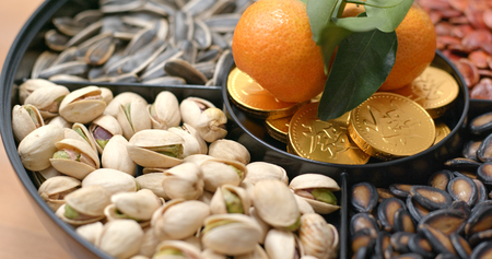 Chinese new year snack tray with gold coin candy with words wealth