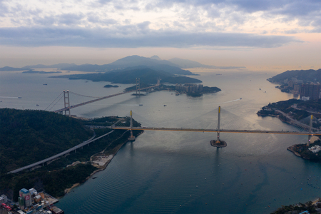 Hong Kong 12 February 2019: Tsing Ma bridge and Ting Kau bridge Reklamní fotografie
