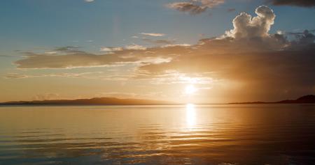 Beautiful sunset time with sea and sky in ishigaki island