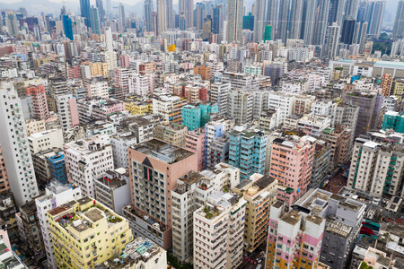 Kowloon city, Hong Kong 28 August 2018:- Top view of Hong Kong city in the evening