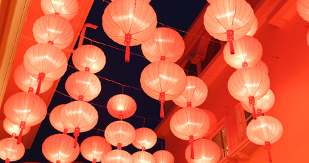 Traditional Chinese lantern decoration for chinese new year at night