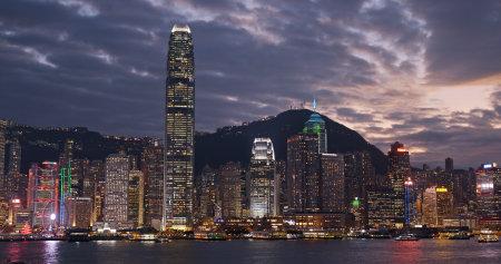 Victoria harbor, Hong Kong -13 December 2018: Hong Kong city at night Editorial
