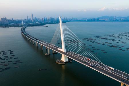 Shenzhen Bay Bridge with blue sky