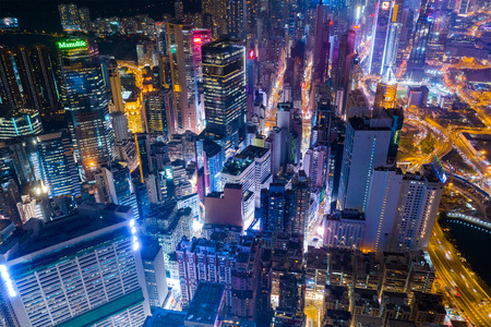 Causeway Bay, Hong Kong 22 February 2019: Top down view of Hong Kong city at night