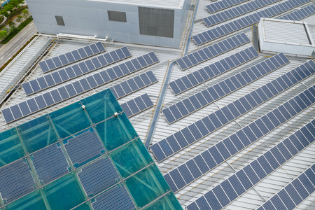 Solar panel station on roof top building
