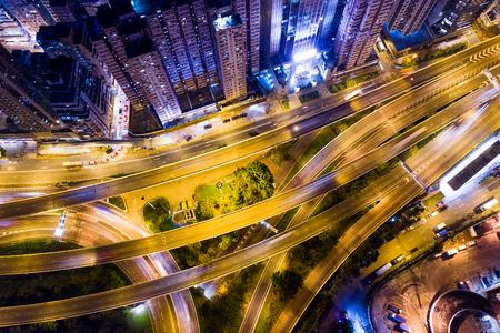 Hong Kong-stad bij nacht