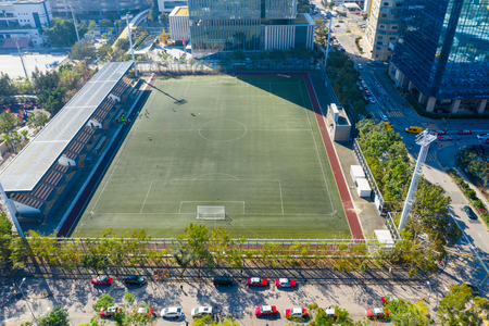 Top view of football court in Hong Kong Redactioneel