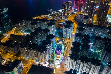 Hong Kong residential at night Stock Photo