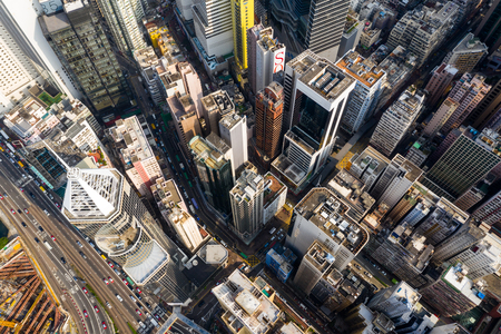 Causeway Bay, Hong Kong 22 February 2019: Aerial view of Hong Kong city skyline
