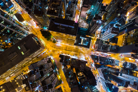 Causeway Bay, Hong Kong 22 February 2019: Top down view of Hong Kong city at night