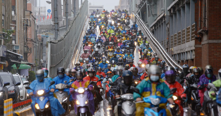 Dihua Street, Taipei city, 26 December 2018:- Crowded of scooter in taipei city at rain day Editorial