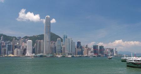 Port Wiktorii, Hongkong, 31 maja 2018 r.: - panoramę Hongkongu
