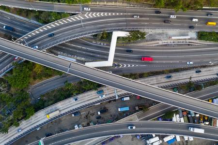 Top view of Hong kong traffic