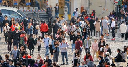 Largo Do Senado, Macau- 22 January 2019: Crowded of Tourist in Ruins of St. Pauls Editorial