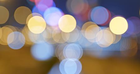 Bokeh view of city at night