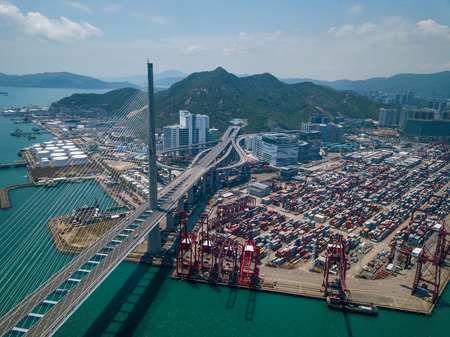 Top view of Kwai Tsing Container Terminals in Hong Kong